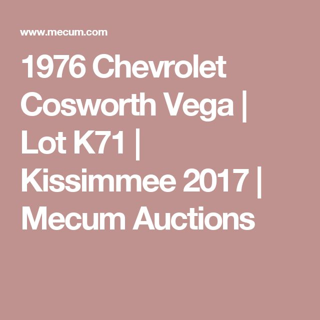 1976 Chevrolet Cosworth Vega | Lot K71 | Kissimmee 2017 | Mecum Auctions