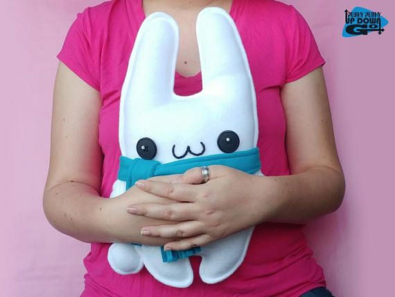 Cute Kawaii White Christmas Bunny Rabbit Plushie with Scarf, Stuffed Snow Bunny Rabbit Doll, Kawaii Bunny Rabbit Pillow & Cushion #stuffedanimals #plushies #plush #designertoy #designerplushie #stuffedrabbit #plushierabbit #stuffedbunny #plushiebunny #rabbits #bunnies #bunnyrabbit #snowbunny #handmade #handmadeplushie #handmadestuffedanimals #kawaii #kawaiirabbit #kawaiibunny #kawaiiplushie