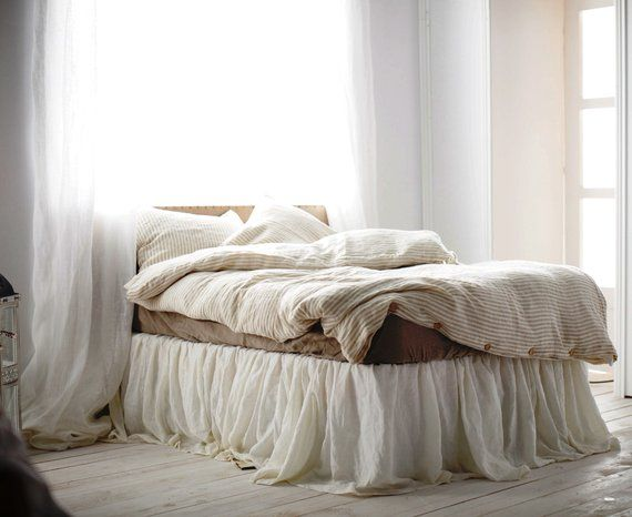 Queen Size Linen Bed Skirt 15 Colors Ruffled Bed Skirt Etsy Bedskirt Bed Ruffle Bedding Bed skirts queen size
