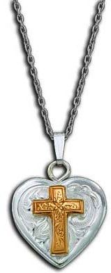 (MSNC61273) Western Silver Heart Necklace with Gold Cross