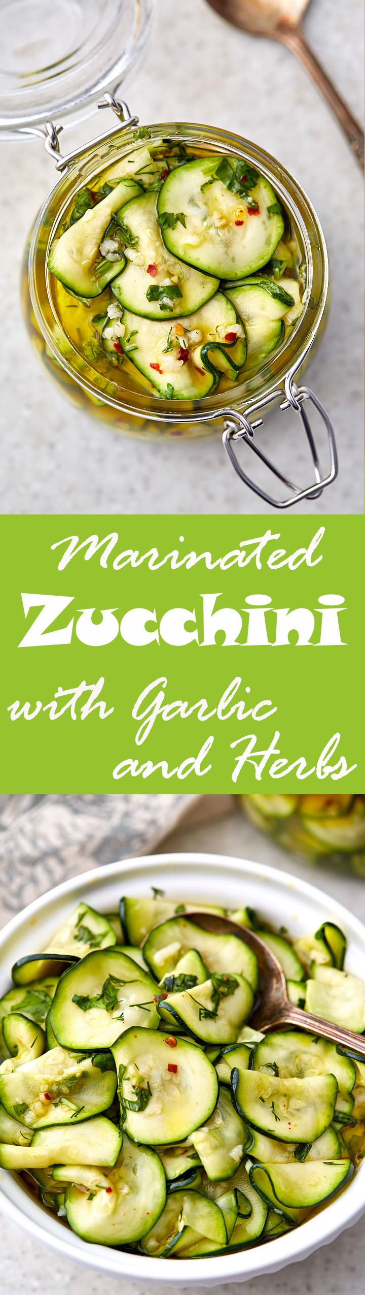 Marinated zucchini are great as a snack on their own or as an accompaniment to grilled meats and many other dishes. Try them with your next BBQ, or mashed potatoes, or as a plain snack.