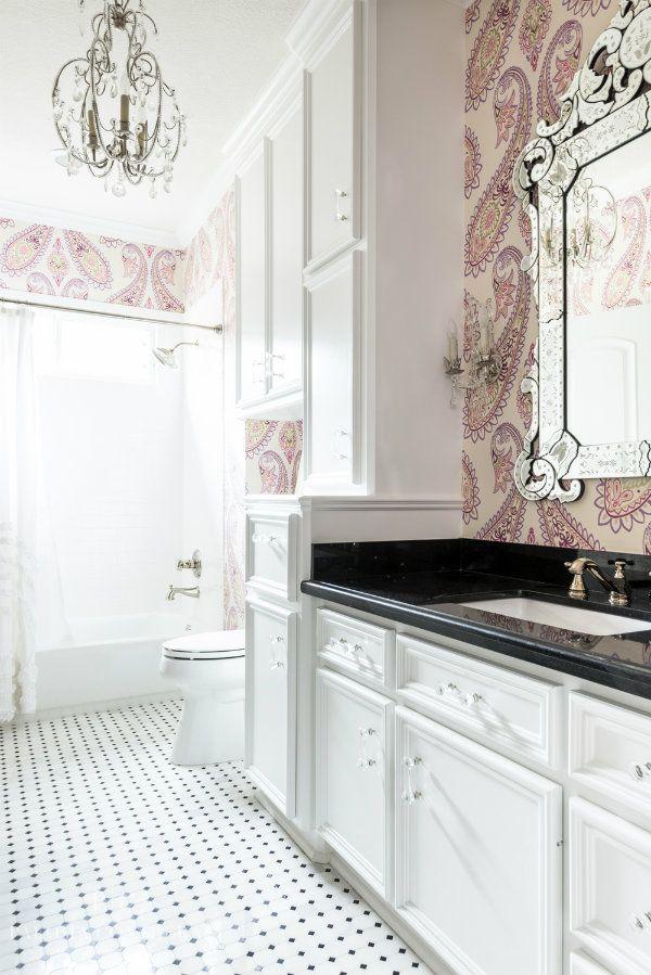 paisley wall paper bathroom