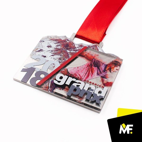 Medal is made of a combination of acrylic and metal printed with a dedicated textured spatially. The shape of the coin resembles the mountain. The original medal adorned with matching color ribbon. You can customize the design to the customer's guidelines. #medal #sportevents #running #award