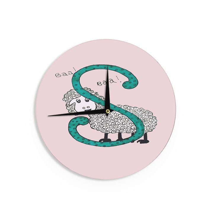 "Rosie Brown ""Sis for Sheep Pink"" Pink Teal Wall Clock"