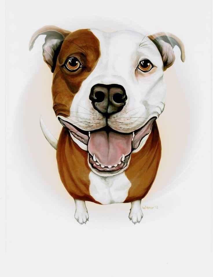Pit Bull Pit Bull Art Pit Bull Terrier Pitbull от ArtbyWeeze