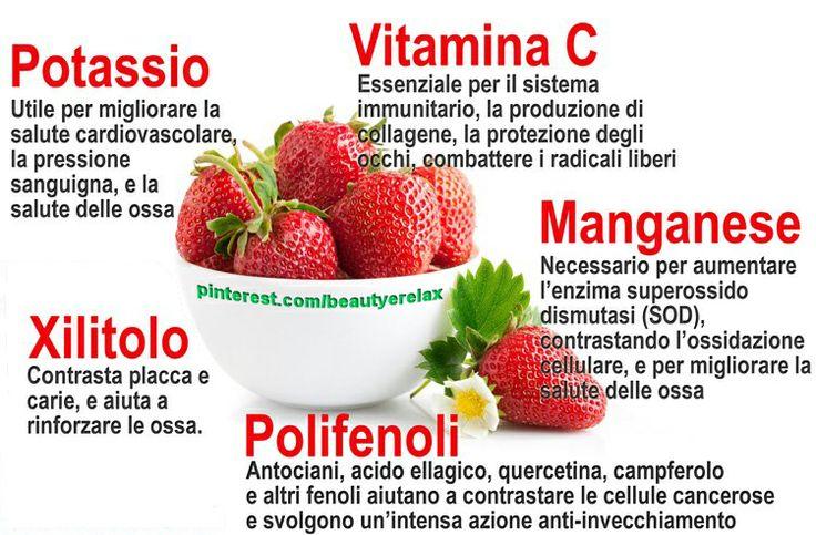 Fragole. 5 OTTIMI MOTIVI PER MANGIARE LE FRAGOLE:   1. VITAMINA C  2. POTASSIO  3. MANGANESE  4. XILITOLO  5. FENOLI   Per approfondire: http://www.beautyerelax.com/alimentazione/499-fragola-benefici-proprieta-antiossidanti.html