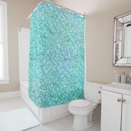 Tiffany Aqua Ocean Beach White  Blue Crystals Shower Curtain - glam gifts unique diy special glamour