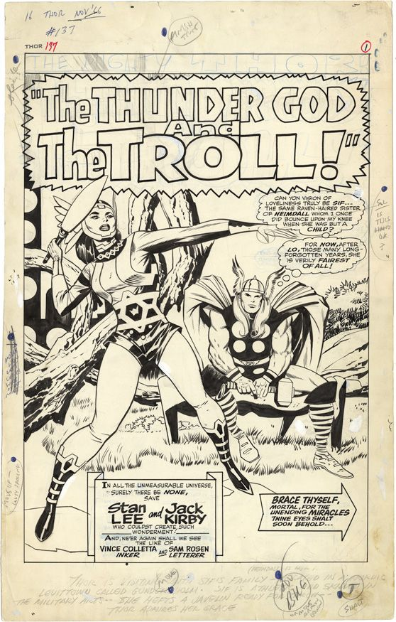 Gallery of Comic Art by Jack Kirby : The Mighty Thor, Issue 137, Page 1 : What if Kirby