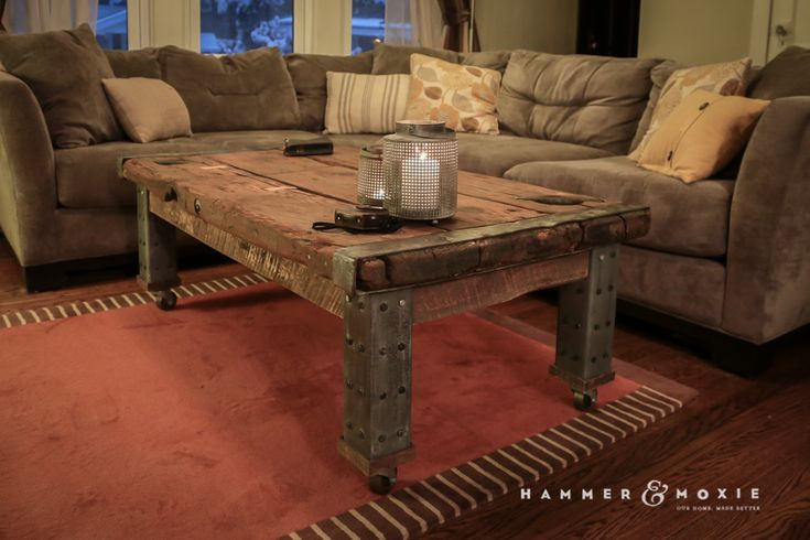 Vintage coffee table made from a reclaimed Liberty ship hatch (WWII) | Hammer & Moxie