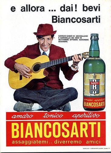 Vintage Italian Posters ~ #Italian #vintage #posters ~ Pubblicità anni '60 Biancosarti ottobre 1967 Giorgio Gaber