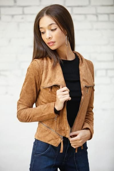 Cobain Suede Moto Jacket • Shop American Threads Women's Trendy Online Boutique – americanthreads