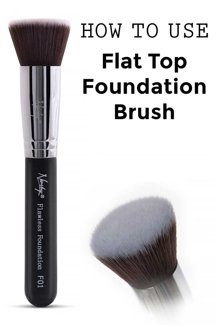 A flat top foundation brush for applying liquid makeup will make application quicker, easier, and give you airbrushed-look, flawless, results. The flat top makeup brush can (and should) also be used w