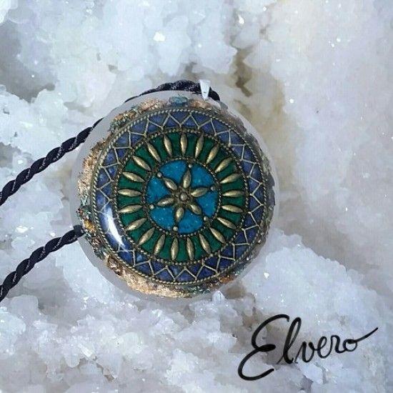 Pandantiv mandala pietre semipretioase, diamant Herkimer, lapis lazuli, crisocola, malahit, cuarț rutilat, piatra soarelui. Sămânță a transformării interioare