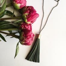 Leather Tassel Necklace by Birch Jewellery #jewelry #bohojewelry #bohofashion #peonies #flatlay
