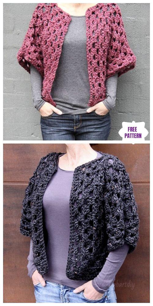0d14123d7 DIY Crochet Cardigan Sweater Coat Free Patterns-Crochet Granny Shrug Free  Pattern