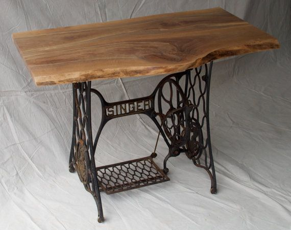 antique 1920s singer sewing machine base rough cut table Etsy listing at https://www.etsy.com/listing/188655702/live-edge-black-walnut-tabledesk-with