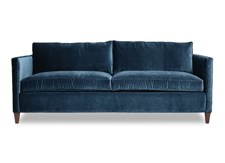 Cobble Hill Hudson Sofa Wood Trim Dark Wood And Velvet