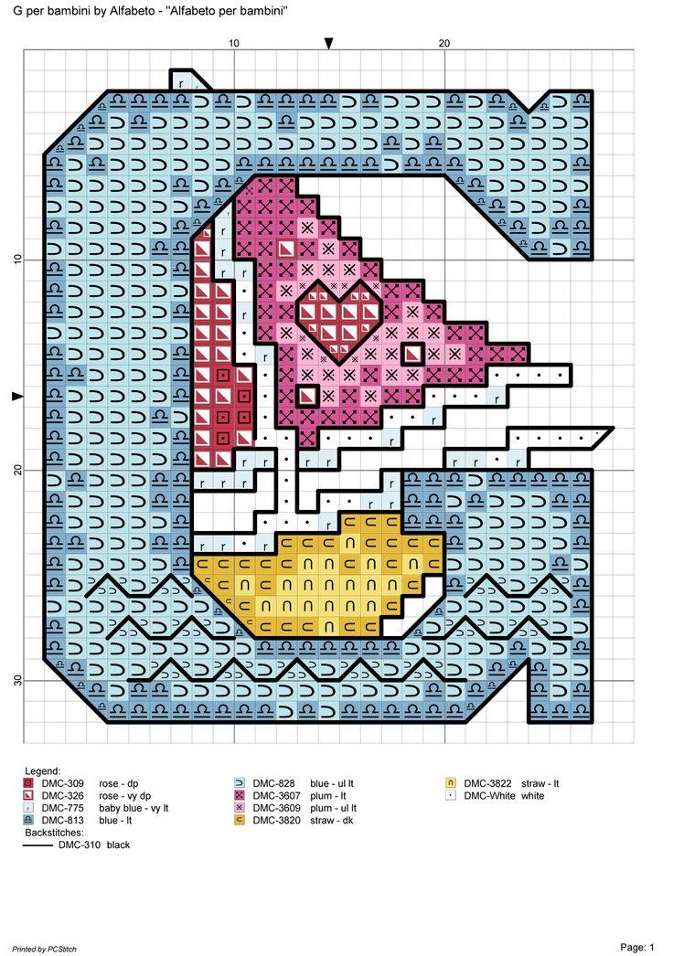Alfabeto per bambini g alfabeti a punto croce pinterest for Alfabeti a punto croce per bambini