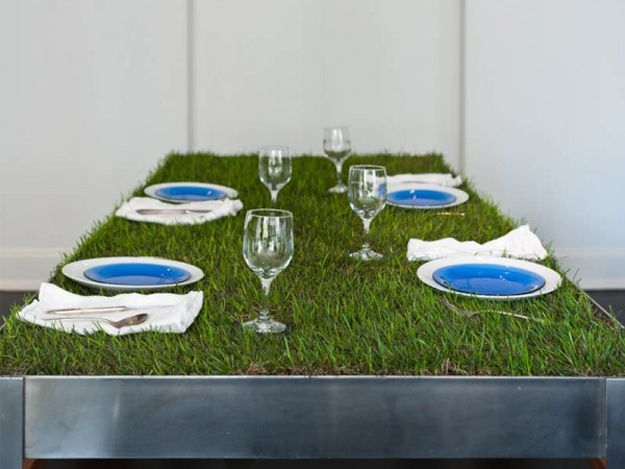 Plant wheatgrass and grow a healthy tablecloth.