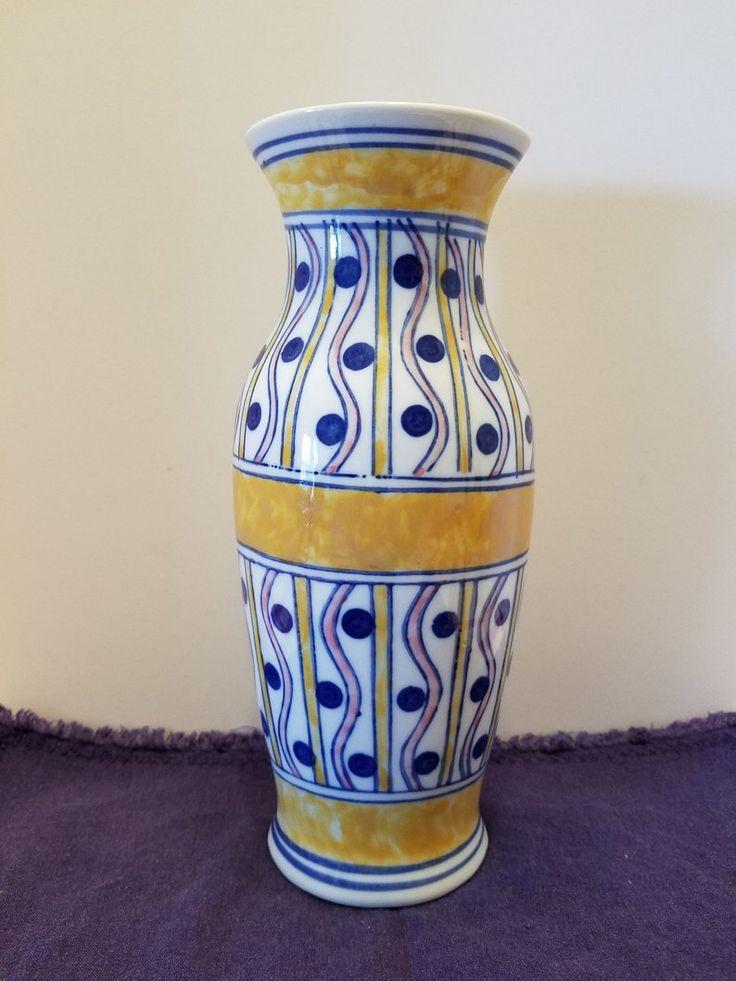 Ceramic wall pocket vase handpainted match holder wall