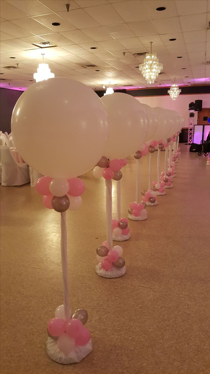 Pink White and Silver Balloon Columns by