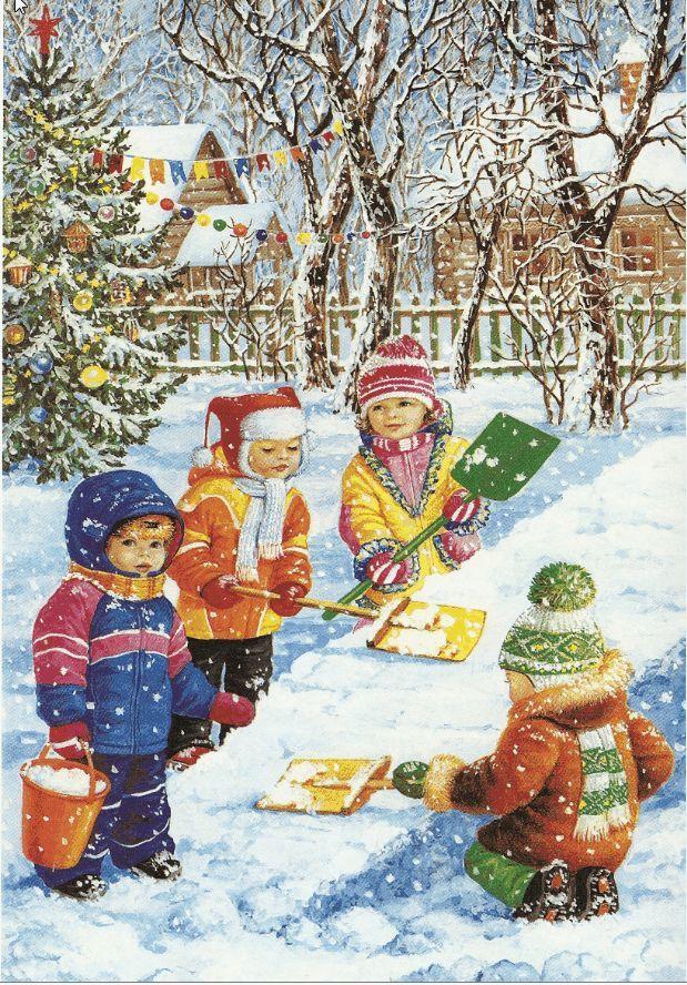 зима - дети горка, снегопад Child Development: Évszakok