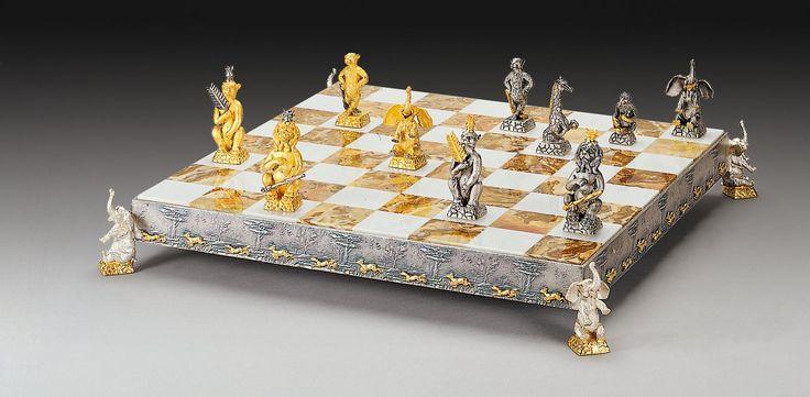 Animali Della Giungla (Jungle Animals) Gold-Silver Themed Chess Board $6,467.00