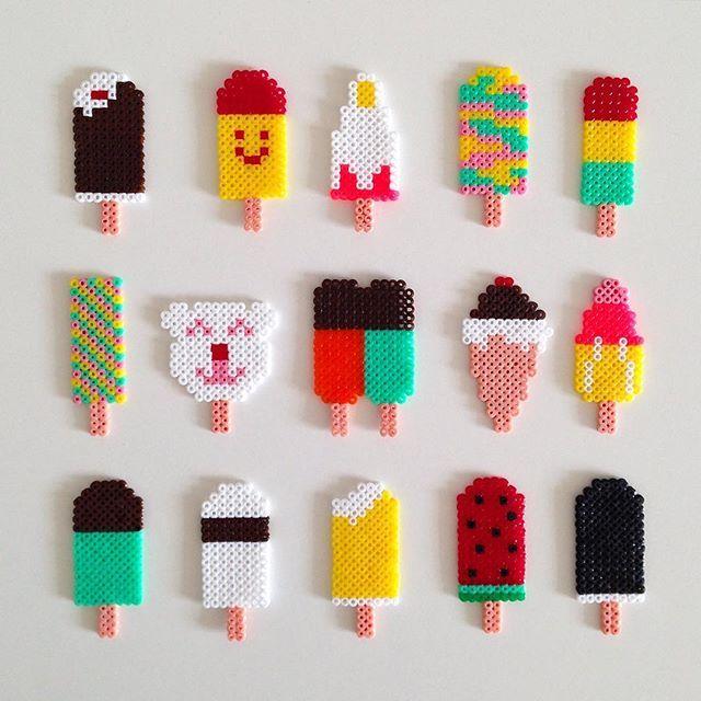 DIY Så er det bare at gå i gang! Her er i hvert fald mine bud - nogle fra pinterest og andre selvopfundne fra min hånd #minihama #perler #uro #icecreammobile #iceicebaby #babyuro #perlepladeis #perleplader #hama