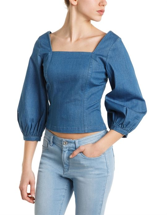 Miss Sixty women's denim BETTA top with puff sleeves and a generous, geometric neckline - MissSixty