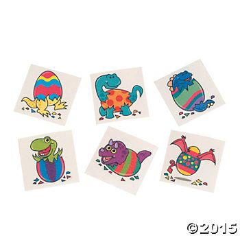 Dinosaur Easter Tattoos - 72 Pk Party Supplies Canada - Open A Party