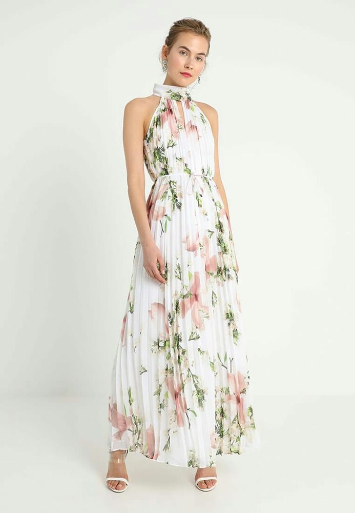 Ted Baker Nicee White Floral Print Pleat Maxi Dress Size 4