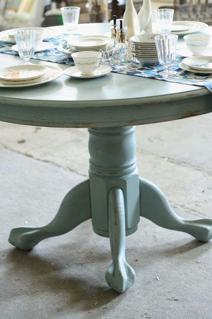 Primitive & Proper: Persian Blue Pedestal Dining Table