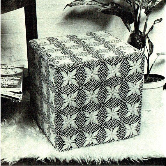 PDF Vintage 1970s Crochet Pattern MOD Pouffe Square Home