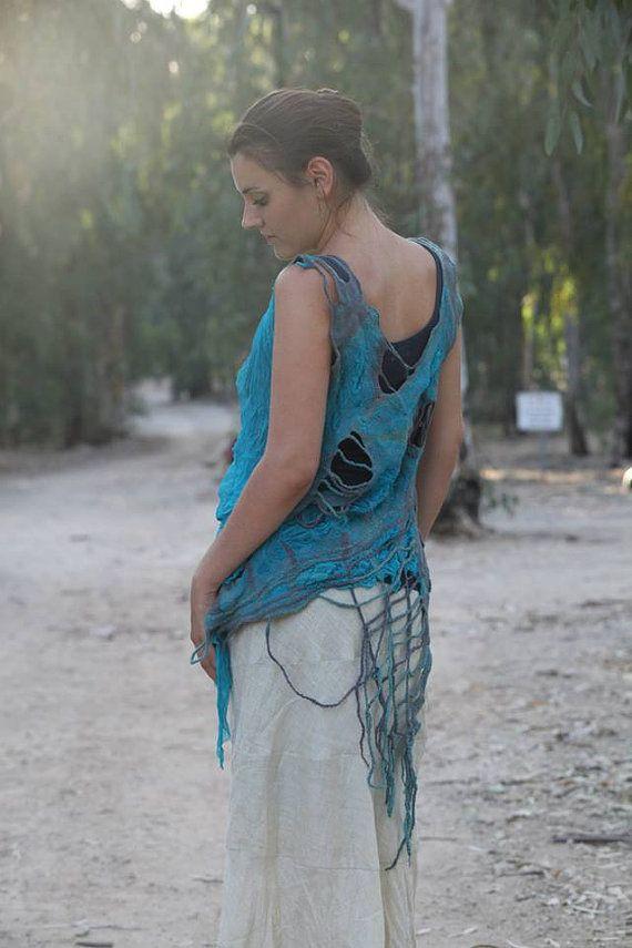 Silk Wool Crazy Top Dress Turquize Grey by IdaKogan on Etsy
