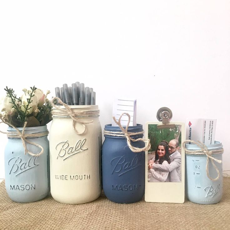 Home Office Desk Accessories, Home Office Accessories, Office Gifts for Women, Mason Jar Desk Set, Rustic Desk Accessories, Mason Jar Decor by VivasFlowerShop on Etsy