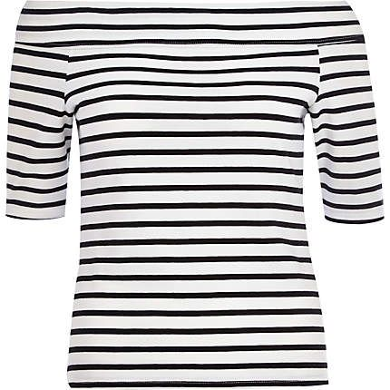 Black and white stripe bardot top £18.00