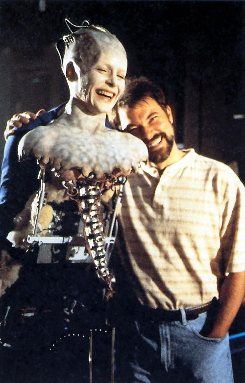 Behind the scenes with Alice Krige and Jonathon Frakes during the filming of ST: First Contact, 1998.