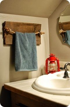 rustic powder bathrooms | rustic DIY rope and barn wood towel holder for the bathroom / powder ...