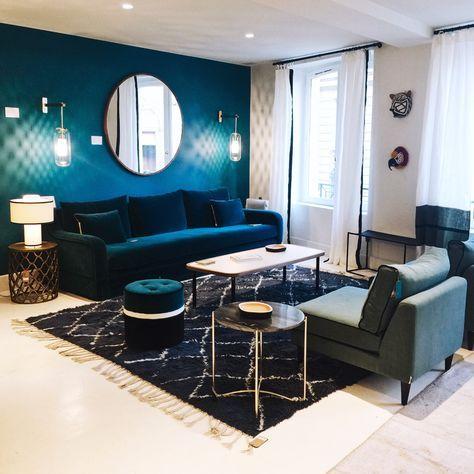 Mes inspirations parisiennes | blog | Décoration salon bleu, Déco ...
