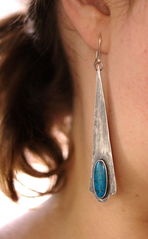 Natural Turquoise & Oxidized Sterling Silver Earrings - fine jewelry - long, sexy, statement earrings... by Julie Kujawa