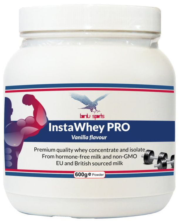 600g tub  Product overview  InstaWhey PRO(vanilla flavour) is a premium whey protein supplement, derived from a blend of high quality whey protein concentrate and whey protein isolate. Only the highest grade hormone-free milk, sourced from EU and British grass-fed cows, has been used in this formulation - no GMOs.  As well as providing an excellent nutritional profile, we have ensured that using InstaWhey PRO is a tasty, hassle-free experience - it can simply be added to water, juice, milk…