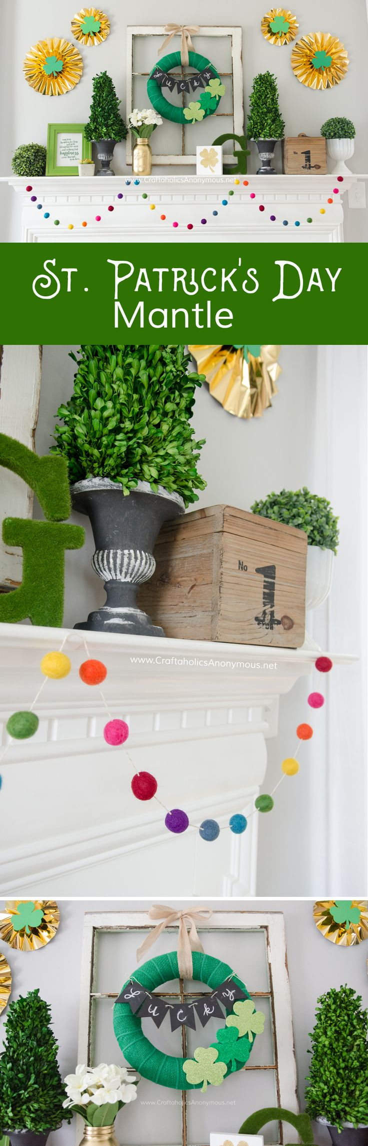 Craftaholics Anonymous® | DIY Luck of the Irish tutorial. Make your mantle feel the holiday spririt with this art, and easy to make wreath!