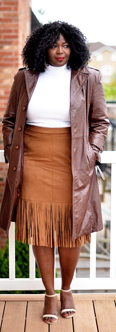 How to wear fringe skirt #suede #fallfashion #plussize #70s