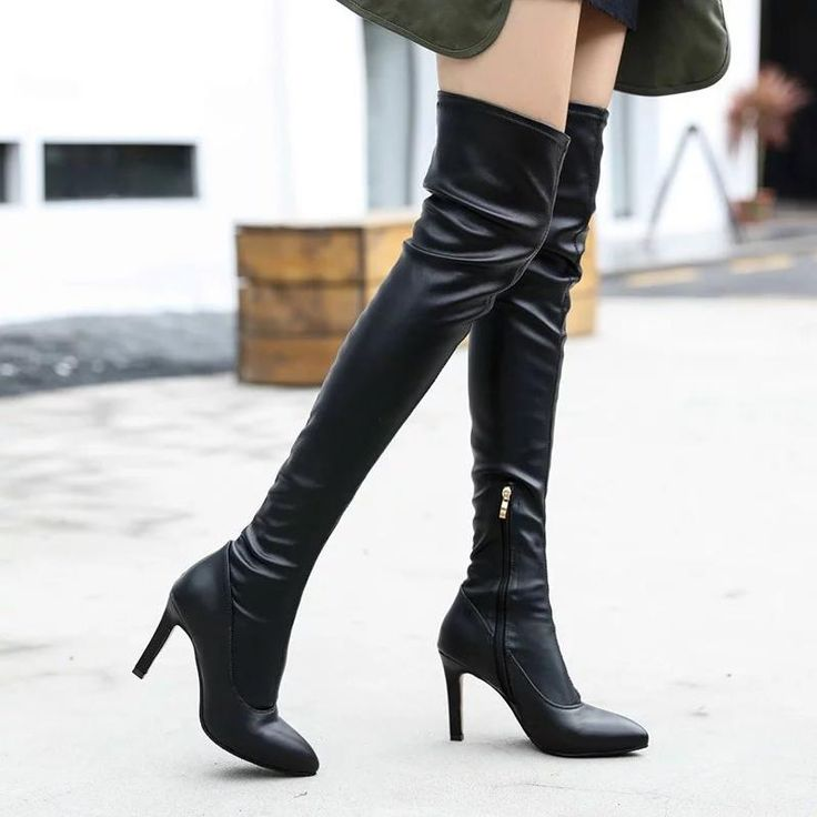 European and American new knee-high boots show thin belt buckle Knight boots thick with anti-pump heels spring and winter popular jKkFBoH