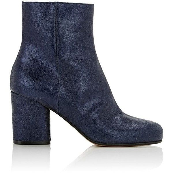 Maison Margiela Women's Metallic Suede Ankle Boots (€315) ❤ liked on Polyvore featuring shoes, boots, ankle booties, ankle boots, navy, navy blue ankle boots, block heel booties, navy blue suede booties, navy suede booties and block heel bootie