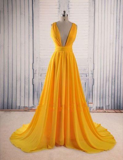 Modern prom dress,V-neck prom dress,A-line prom dress,yellow evening dress, cheap prom dresses, ,104