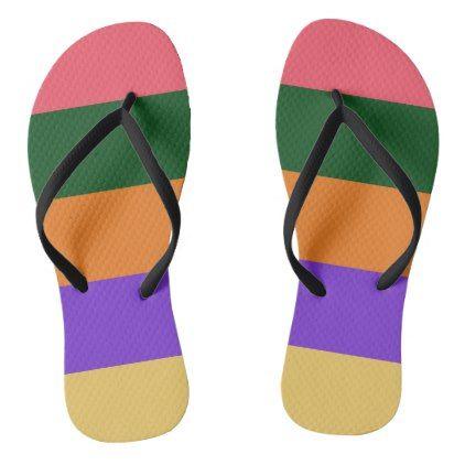 #blue orange fiery rose stripes flip flops - #womens #shoes #womensshoes #custom #cool