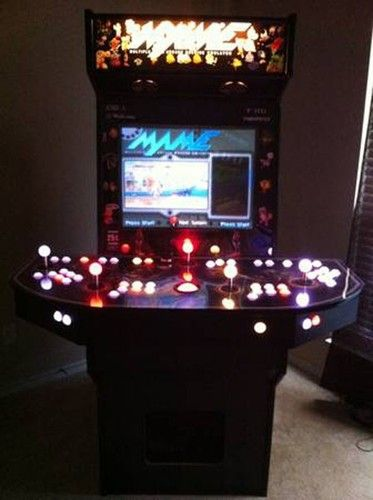 Mame Arcade Cabinet Pc 4 Player Led Controllers 27 Screen