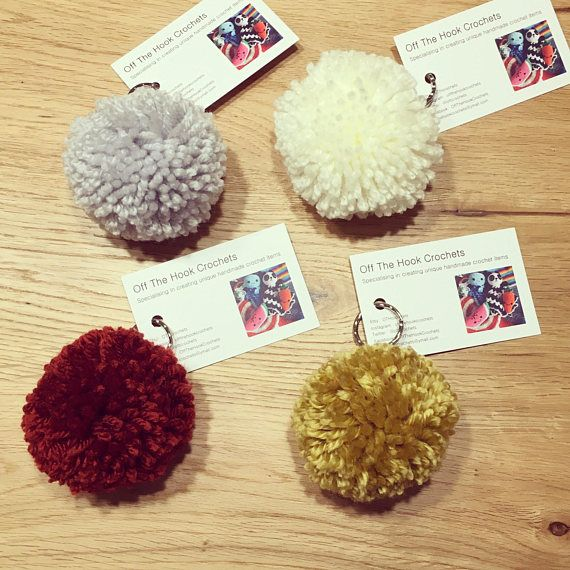 These beautiful large Pompom bag charms are lovingly handmade using high quality yarn. Each fluffy Pompom measures approximately 7cm with a silver metal keychain attached. An ideal stocking filler for children, teenagers and adults. Available in grey, cream, rust or mustard.