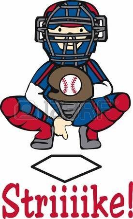 baseball catcher: Baseball receveur à donner des signaux sur la plaque de la maison.